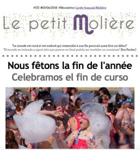 newsletter 172 del colegio Molière de Zaragoza